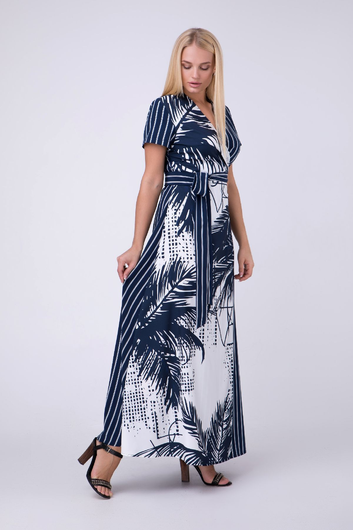 e28ae280b31f78d Летнее платье с узорами, больших размеров RM1958-B-19DD, синий, нажмите