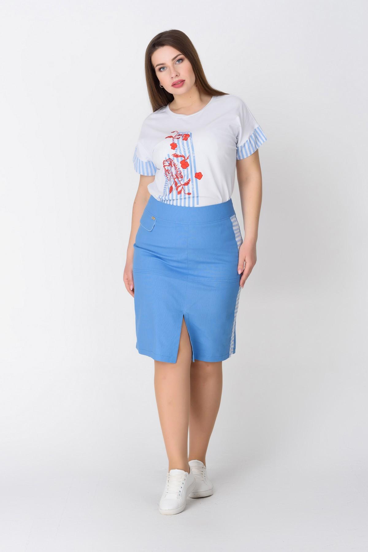 fd3d01313c4 Голубая юбка ниже колена