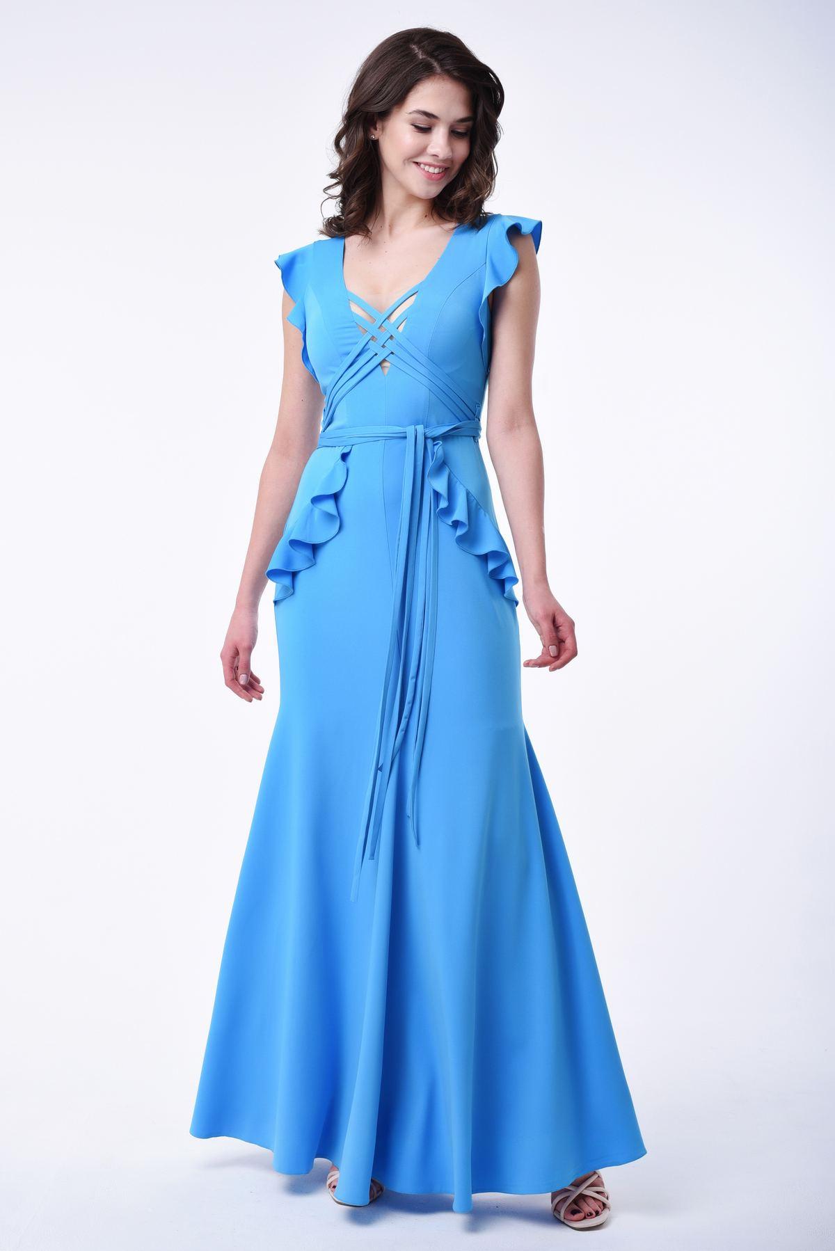 221660a58a07 Вечернее платье в пол с рюшами RM1835-18VP, голубой, нажмите для увеличения