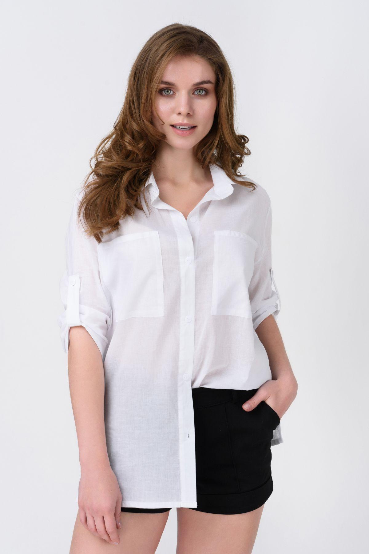 8e0d286ff44f Белая рубашка с принтом RMD1295-19DB