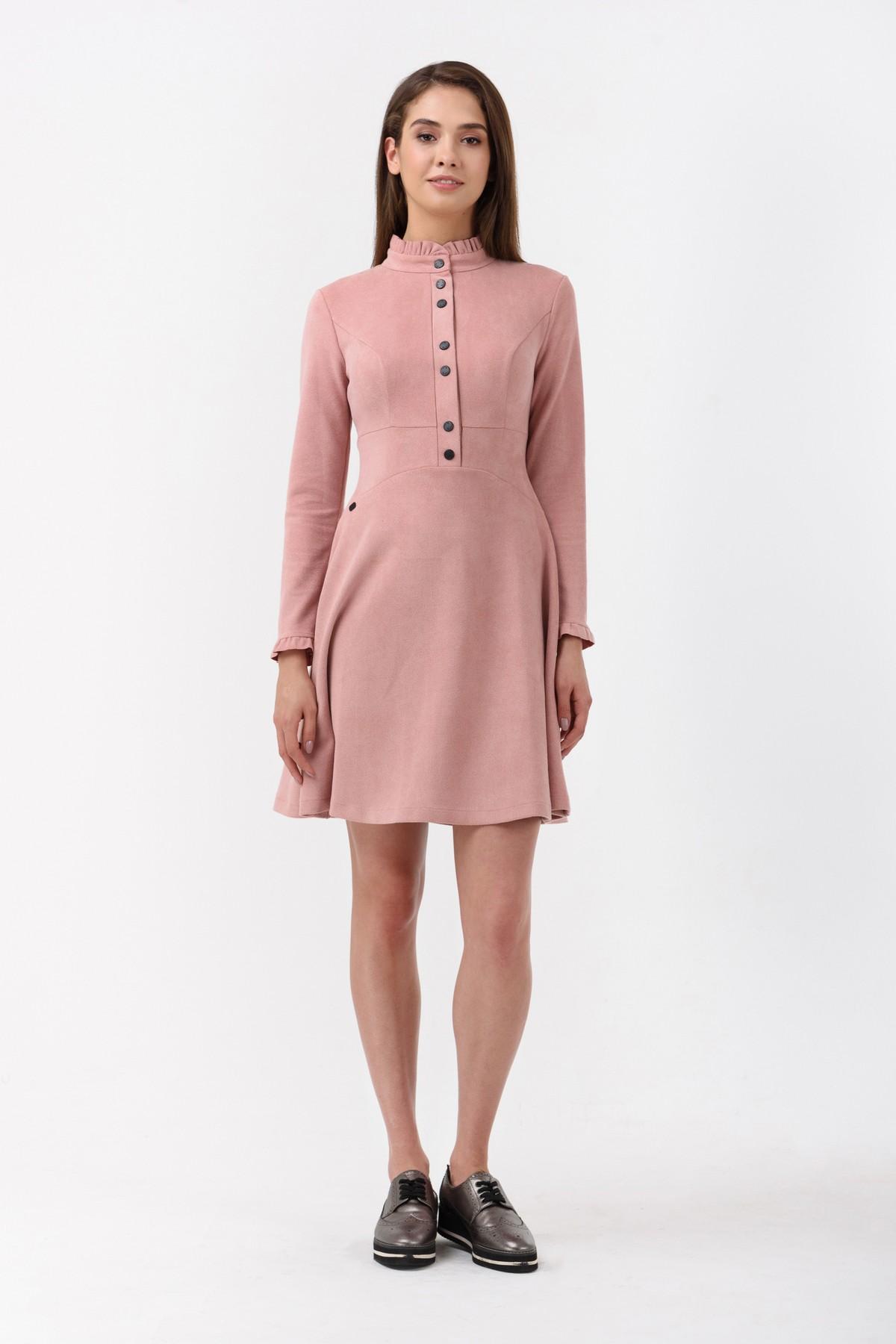 110cc1980239 Осеннее платье с длинным рукавом и чокером RM1878-18DD, розовый, нажмите  для увеличения