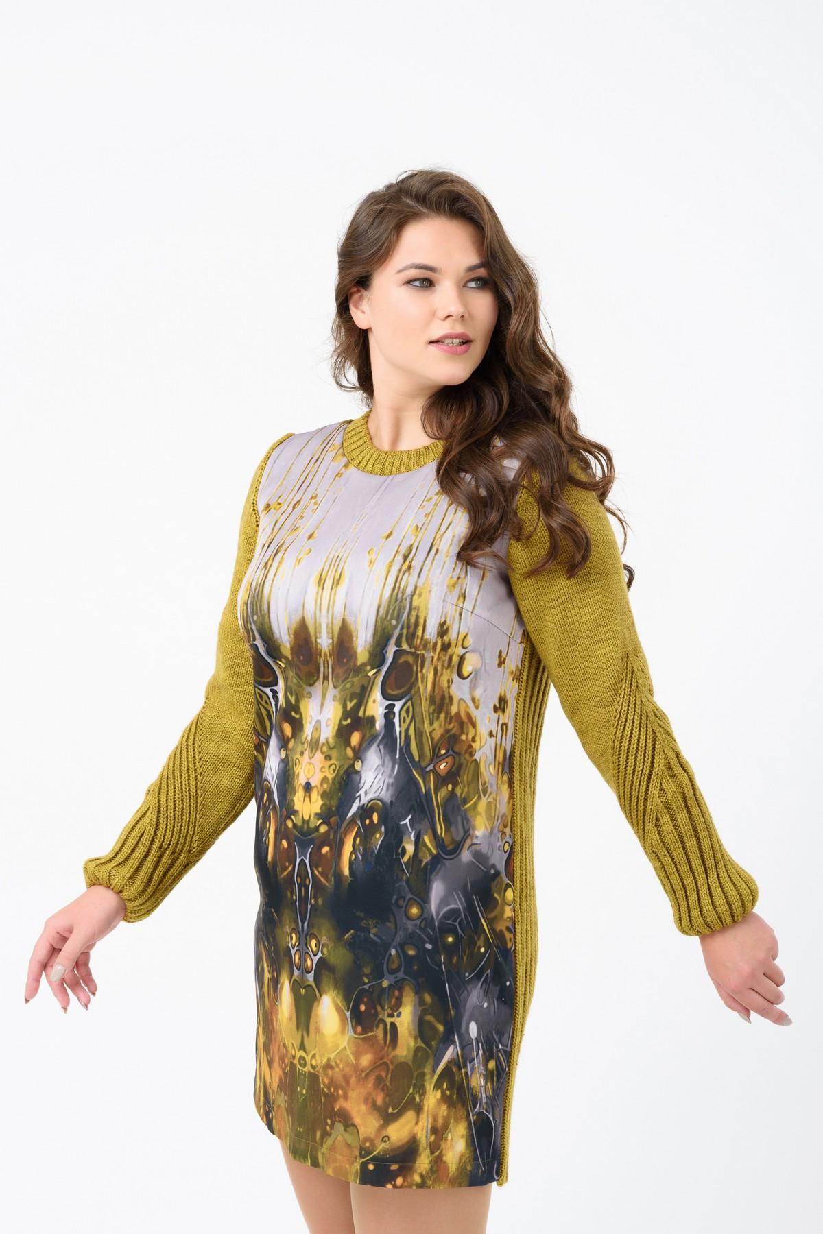 вязаное платье с авторским принтом Xl купить осеннее платье