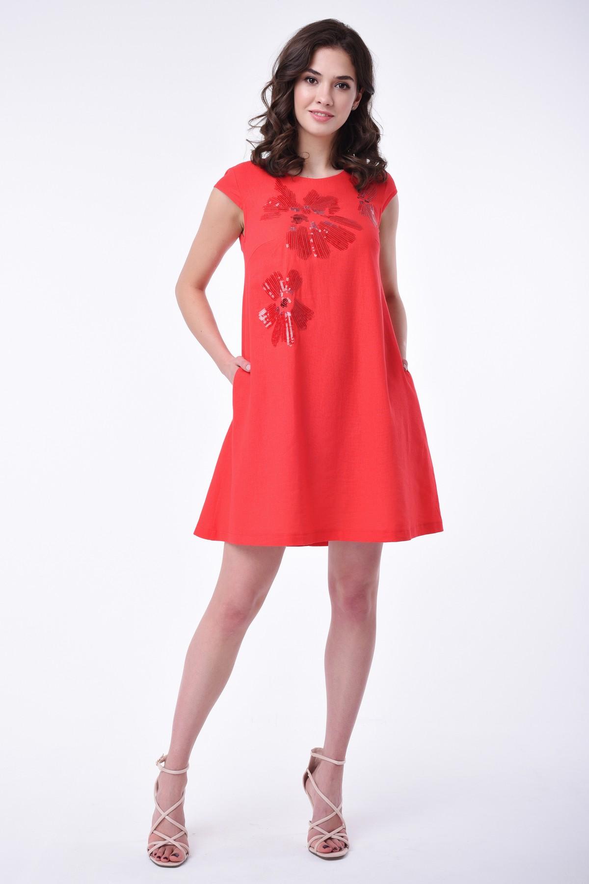 e85983339f2 Летнее платье А-силуэта с пайетками