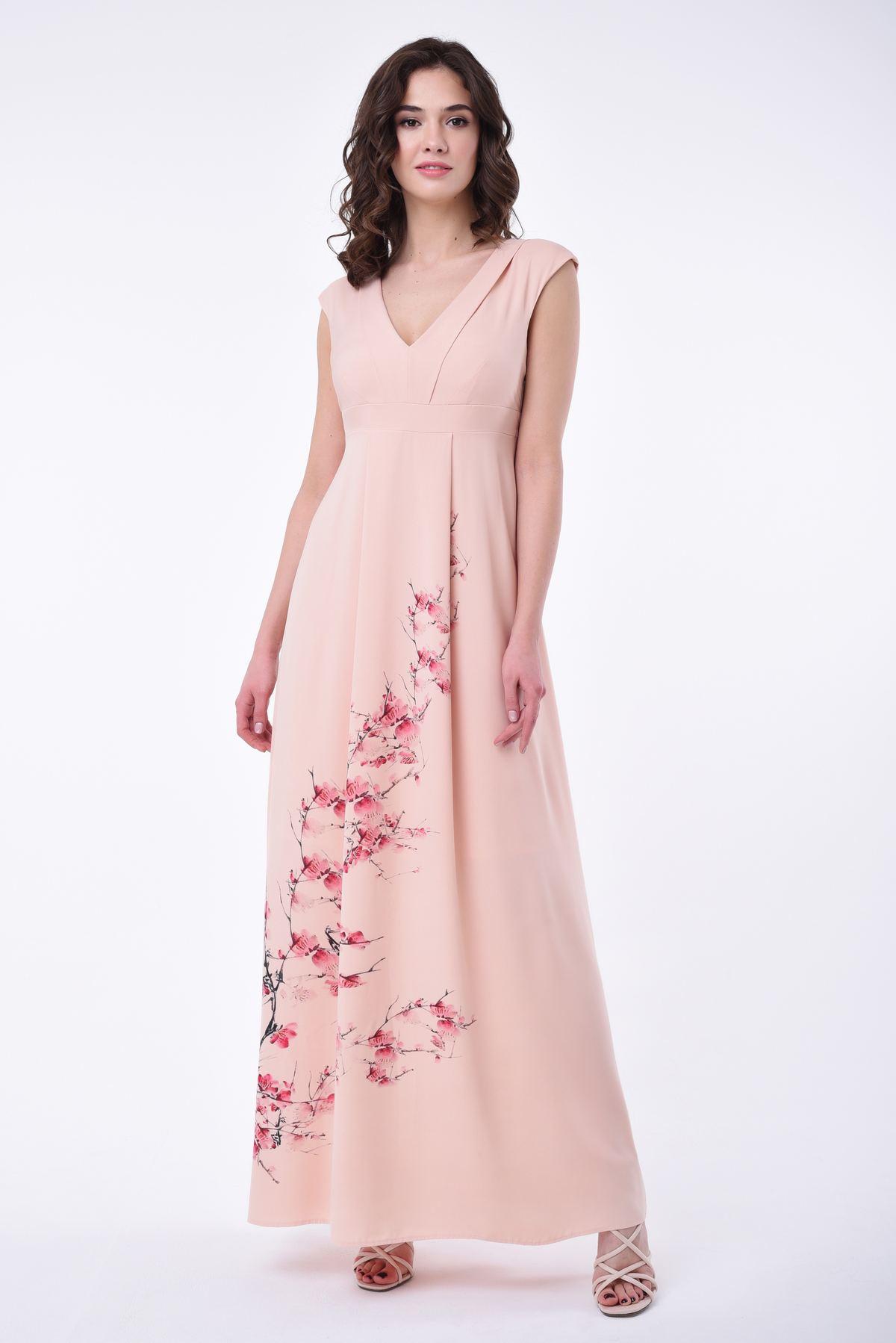 0024a8fb2e9 Длинное летнее платье-сарафан с принтом RM1802-18DD