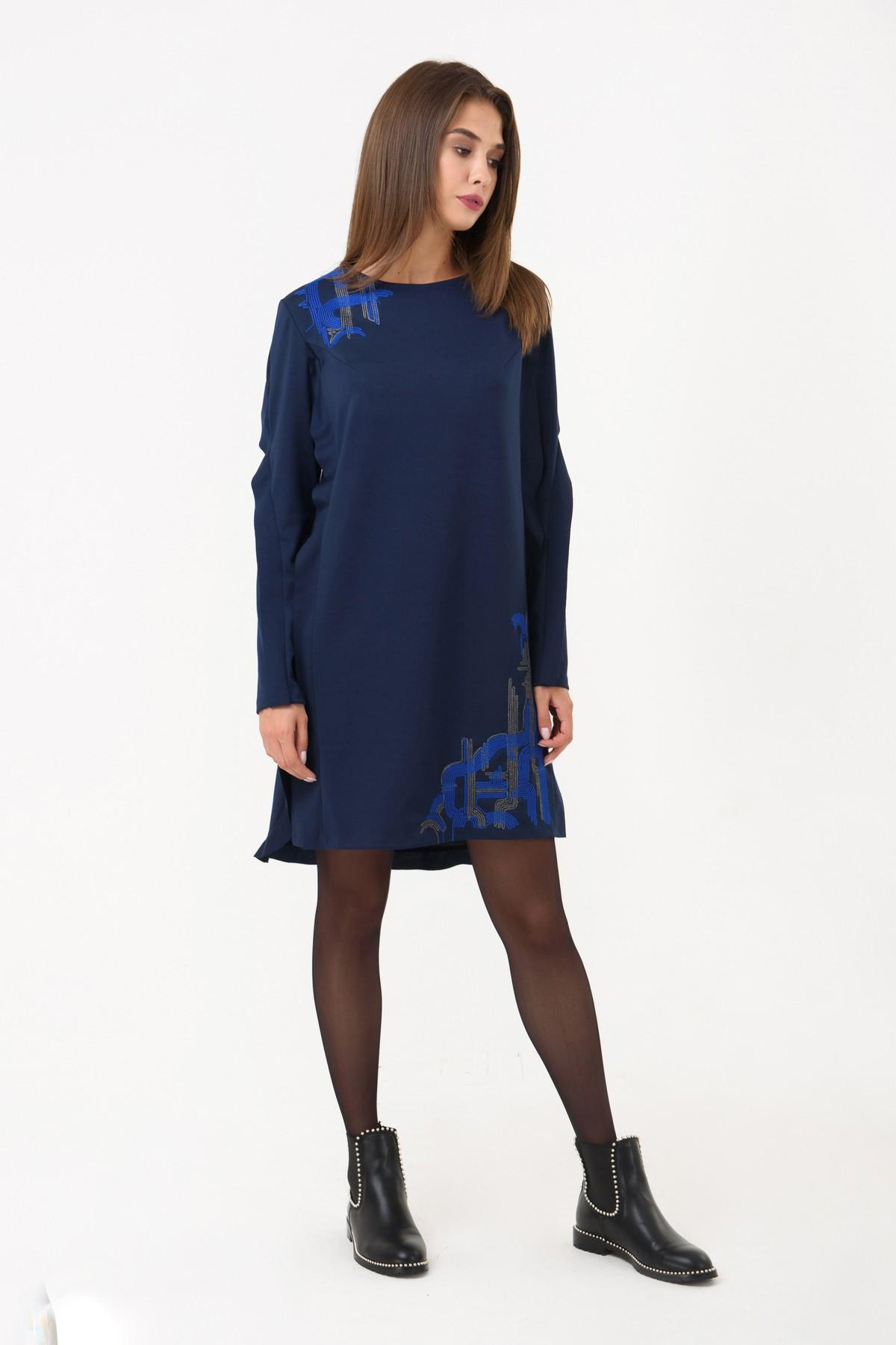 e048d313176f Осеннее платье прямого силуэта RM1243-18DD, синий, нажмите для увеличения