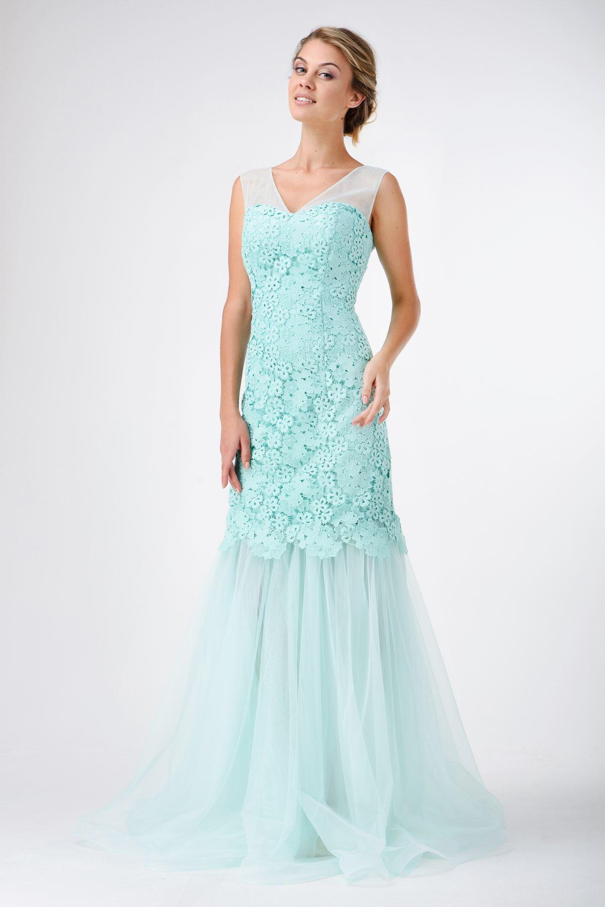 bc09301b31e2 Купить Вечернее платье в пол из гипюра и шифона в интернет-магазине ...