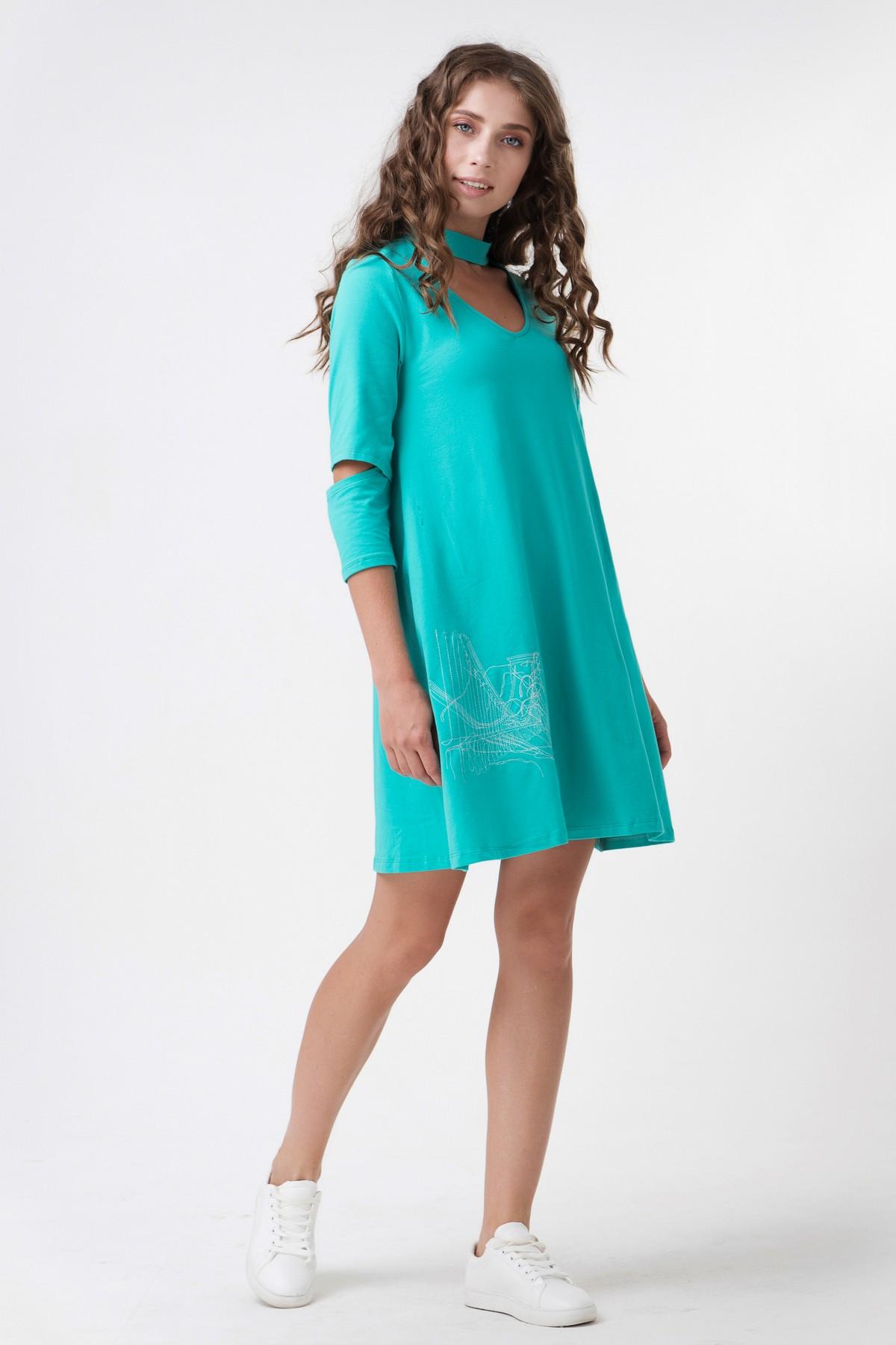 fdb9c268cc22407 Осеннее короткое платье с разрезом на рукавах RM1113-17DD, бирюзовый,  нажмите для увеличения