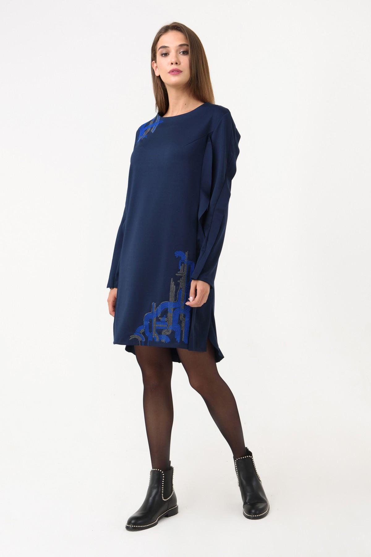 c239bdf727e7 Осеннее платье прямого силуэта RM1243-18DD, синий, нажмите для увеличения