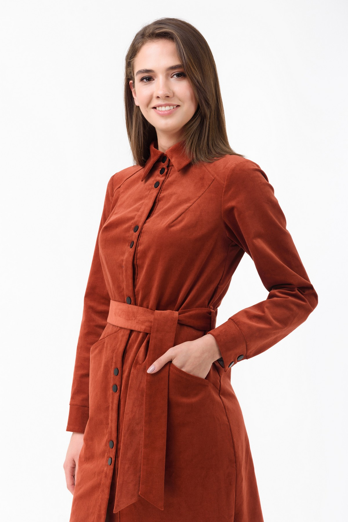 9f8125700760e Вельветовое платье-рубашка с поясом RM1839-18DD, терракотовый, нажмите для  увеличения