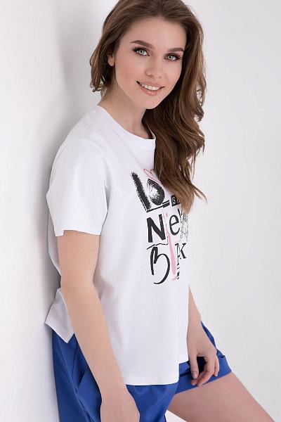 013502c69e165 Купить Трикотажная белая футболка с принтом Купить Трикотажная белая  футболка с принтом ...