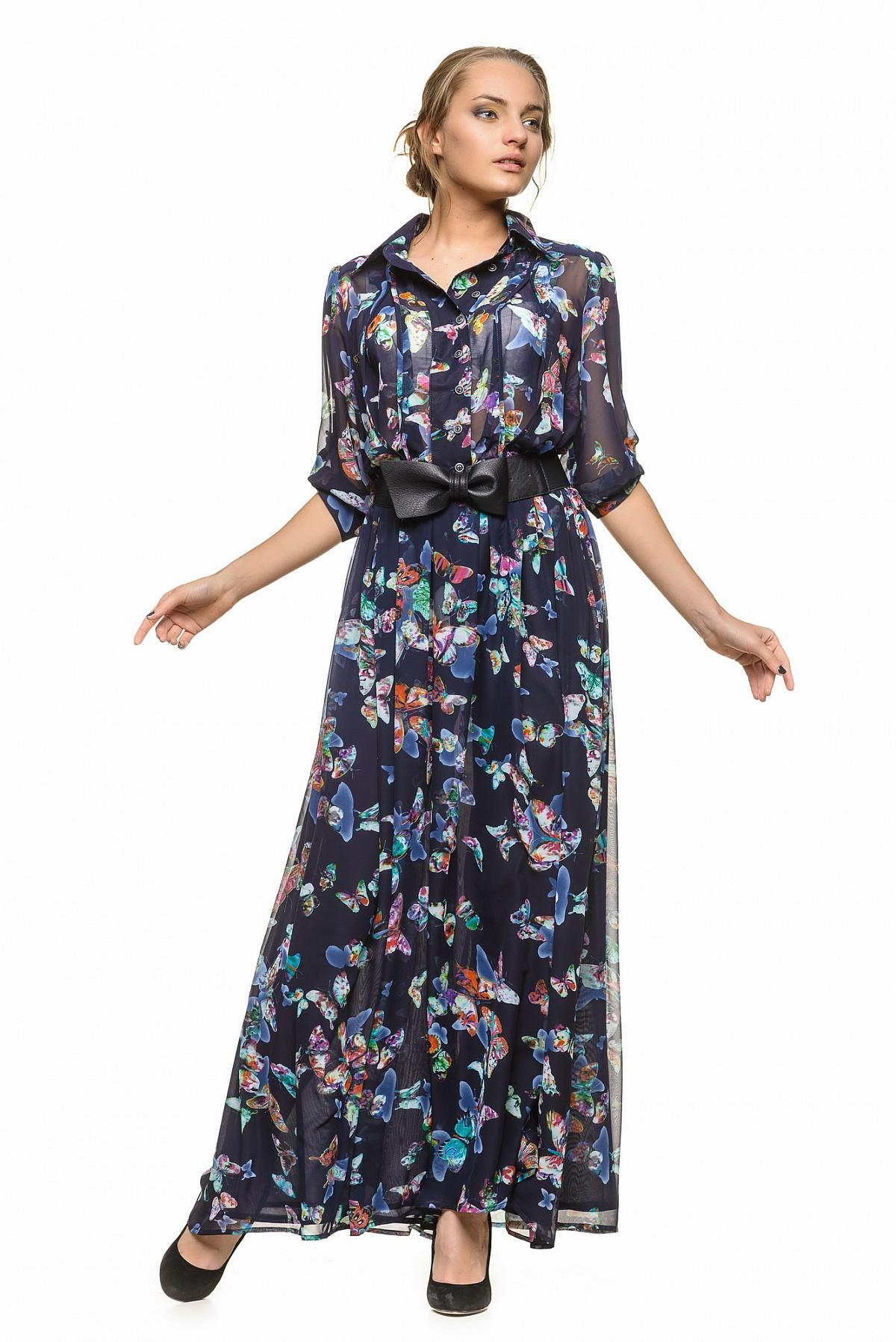 2c1401081d7 Длинное платье-рубашка с поясом RM118-13DD-платье