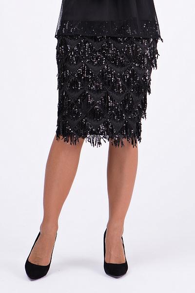 0b206397ca2 ... Купить Нарядная юбка-карандаш с бахромой ...