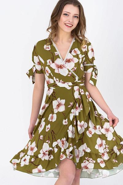 1c5e72ec9c7 ... Купить Летнее платье на запах с цветочным принтом ...